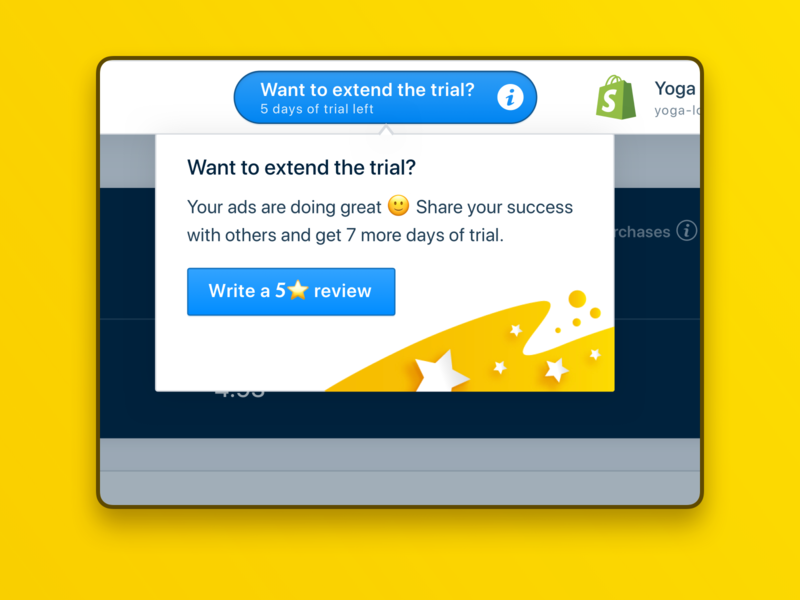 Extended trial and app review on Shopify. RetargetApp ui badge success stars illustration retargetapp web app ux tool-tip product design rate opinion share testimonial review shopify extend extended trial