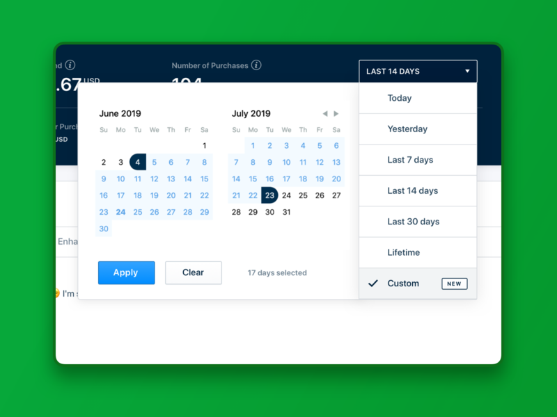 Date Dropdown. RetargetApp ui interface ux product design dashboard range calendar date picker date selector date range datepicker