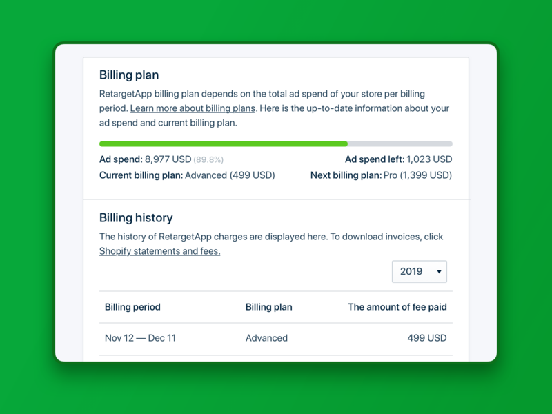 Billing plan & history. RetargetApp ui interface ux product design billing threshold statments charge invoice billing period history subscription plan subscribtion billing tariff tariff billing plan billing