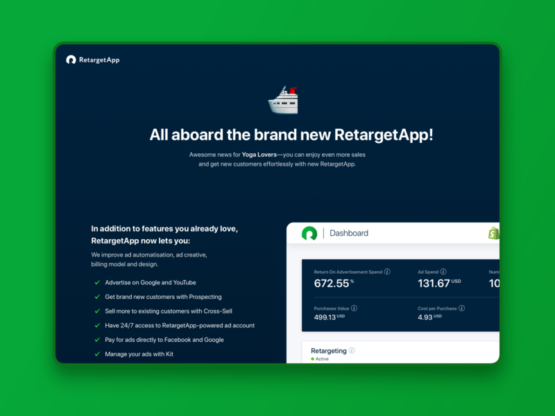 Migrate user to new version. Forced type. RetargetApp confirmation card number payment interface ux ui product design error prevention error charge braintree payment due free trial faq update transfer upgrade new version migration