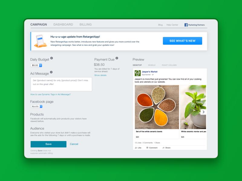 Migration to new version. RetargetApp responsive adaptive mobile modal banner transfer upgrade update migration interface ux ui product design