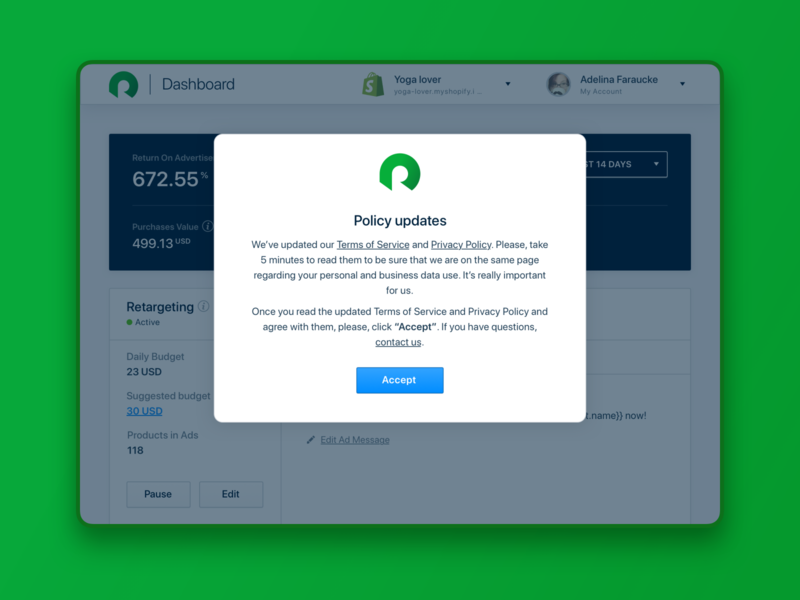 GDPR. Before and after the May 25, 2018. RetargetApp banner modal window privacy policy terms of service update policy gdpr interface ux ui product design