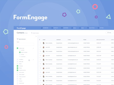 FormEngage contact user dashboard form pop-up project website ux ui aplication app