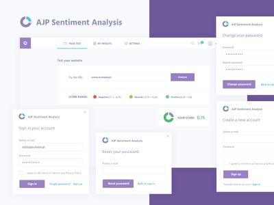 AJP Sentiment Analysis pop-up password registration profile sentiment analysis design ux ui dashboard