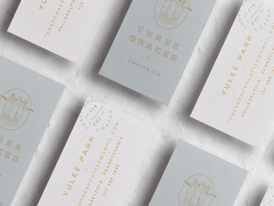 Three Grace | Business Cards & Ribbon philadelphia lynx type letterpress women feminine graces three coffee