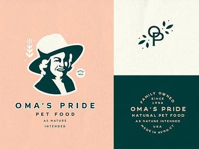 Oma's Pride   Pet Food farm logo farm woman philadelphia design lynx branding food pet oma