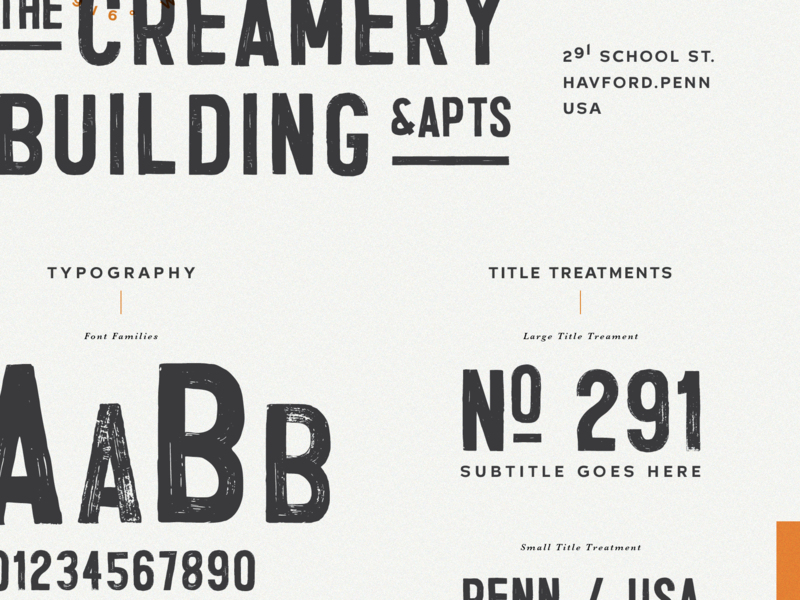The Creamery | Typography design philadelphia lynx paint sign number logo guide style vintage typography