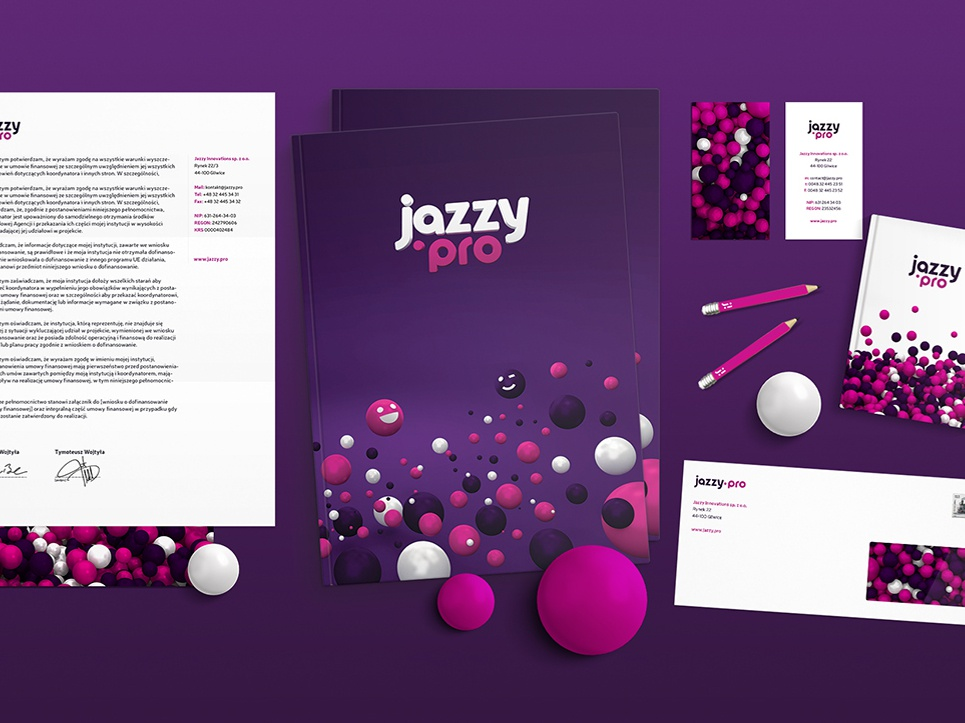Jazzy Innovations CI branding logo stationery 3d visual  identity