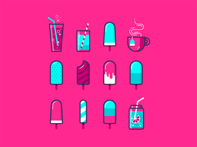 Hello, Dribbble! blue white turquoise pink sweet lemonade homemade cup of coffee cup of tea soda popsicle ice cream