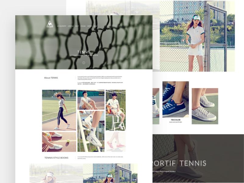 Web page for LE COQ SPORTIF Tennie le coq sportif sports brand trend popular fashion web design green web ui design ui art tennie official website e-commerce website