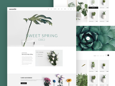 Web page for my flower shop ui art official website green plant green flower shop ui design web design