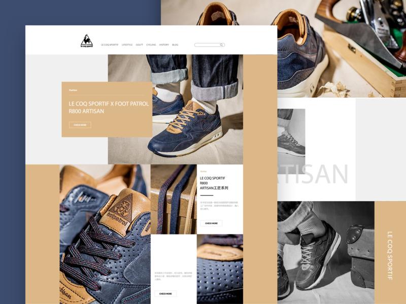 Web page for LE COQ SPORTIF R800 ARTISAN casual shoes shoes web design fashion art ui design ui art trend sports brand popular le coq sportif fashion e-commerce website
