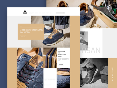 Web page for LE COQ SPORTIF R800 ARTISAN casual shoes shoes web design fashion art ui design ui art trend sports brand popular le coq sportif fashion e-commerce website