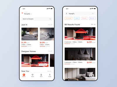 Homestay App home app simple style classic style quality life red interface short term rentals travel designer home home homepage homestay app ios ui design design ui ux app