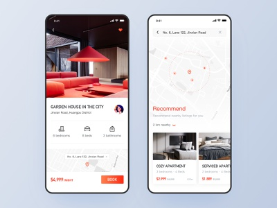 Homestay App-Listing details page recommend maps red interface travel simple style quality life listing details page homestay app homepage classic style ui design ios ui ux app