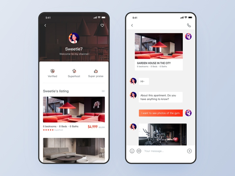 Homestay App - Profile page travel simple style quality life homestay app chat profile page homepage classic style ui design design ios ui ux app