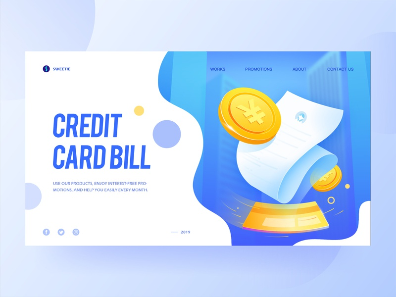 2.5d blue illustration gold coin cityscape city blue credit card bill creditcard financial h5 2.5d 2.5d illustration illustration vector webdesign web website ui design design ux ui