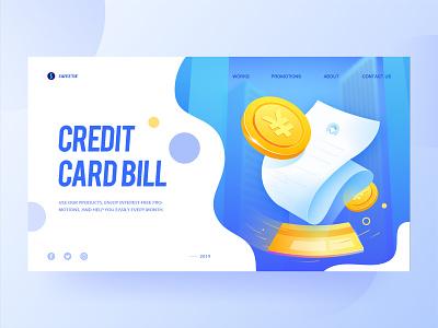 2.5d blue illustration gold coin cityscape city blue credit card bill creditcard financial h5 2.5d 2.5d illustration illustration vector webdesign web website ui design design ux ui