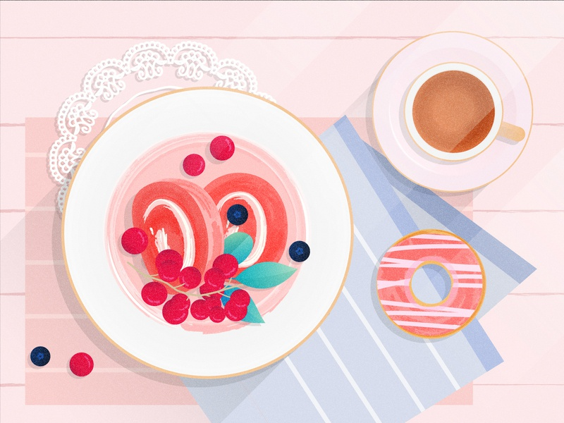 My lazy breakfast time beautiful flat design vectorart vector delicious tasty design art laid back donut cake roll cake coffee illustration food flatdesign flat design breakfast afternoon tea afternoon