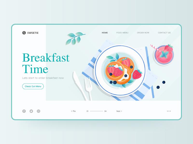 My website pancakes fruit juice food and drink breakfast supply breakfast web design website web ui design vector illustration design ux ui