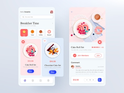 Breakfast app card pink clean ui ui ux design drinks cakes breakfast flat ios vector illustration design ux app ui