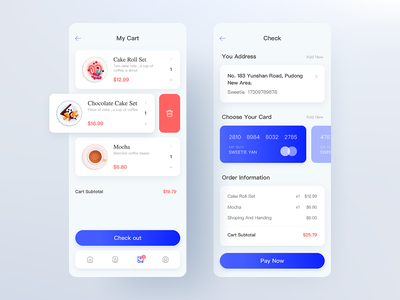 Breakfast app blue ui pink ios12 clean ui checkout card check page my cart afternoon tea flat ui design ios vector illustration design ux app ui