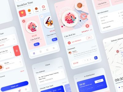 Breakfast app blue pink ios12 card design food and drink food app food clean page breakfast flat card ui design ios vector illustration app ux ui