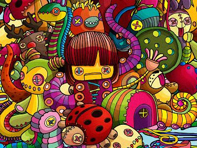Rag dolls stuffed toys dolls rag dolls ai vector illustration