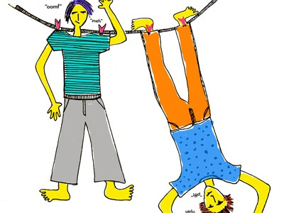 Hanging illustration mixed media