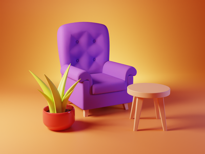 Blender Practice: Simple 3D Scene 3d art lowpoly living room plant table chair sofa blender 3d