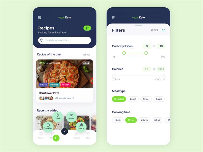 Ketogenic Vegan Diet App recipes vegan diet carbs onboarding app design ios filters ketogenic keto app