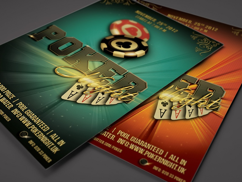 Poker Night Flyer Template 4 X 6 Gamble Cards Psd Playing Card Design Chip