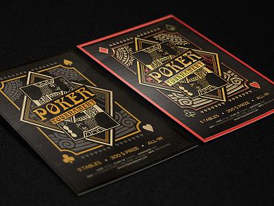 Poker Magazine Ad, Poster or Flyer – Flat & 3D poker tournament flyer template leaflet casino black jack grunge magazine ad gold