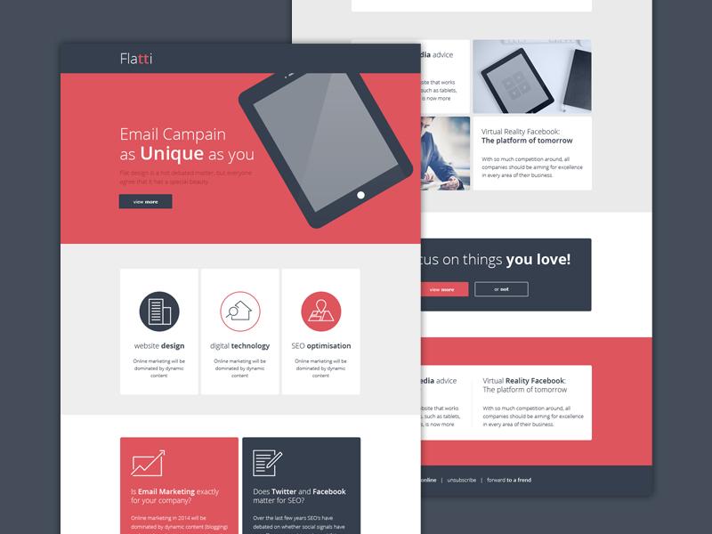 Flatti -  Newsletter Email Design flat newsletter psd mailer email e-mail template design
