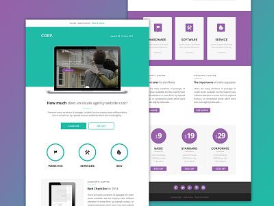 Corp -  Newsletter Email Design green estate agency email template design newsletter e-mail psd violet flat purple