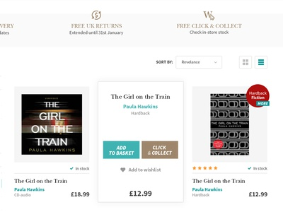 Waterstones - e-commerce search result  layout website grid book store list layout product page waterstones ui ux store e-commerce