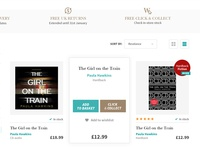 Waterstones - e-commerce search result  layout