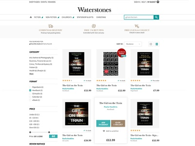 Waterstones - grid search result layout grid book store list layout product page waterstones ui ux store e-commerce