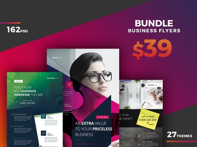 Corporate Flyer Bundle 162 PSD - 80%OFF multi-purpose digital creative advert template agency ad bundle business corporate poster flyer