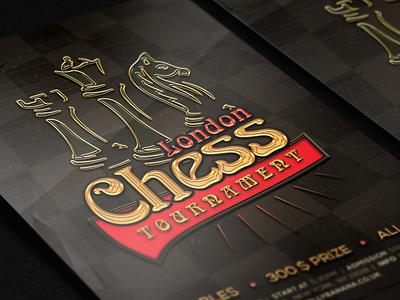 London Chess Tournament Flyer tournament gold template chess flyer