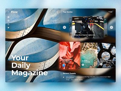 Flow - Fluent Design Magazine Concept. Home page flow web ui ux concept blog system design fluent home page