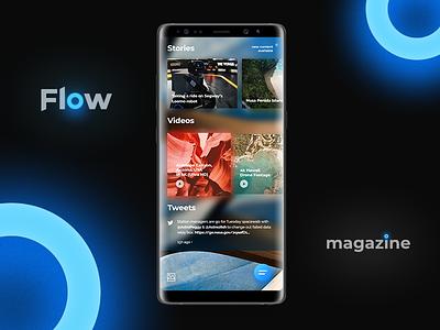 Flow - Fluent Design Magazine Concept. Mobile version android mobile flow ui ux concept blog system design fluent home page
