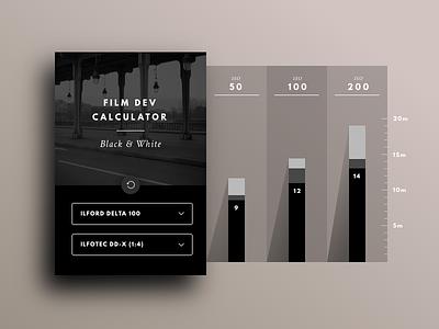 Film Dev Calculator photography development sketch tool widget ui calculator dev film