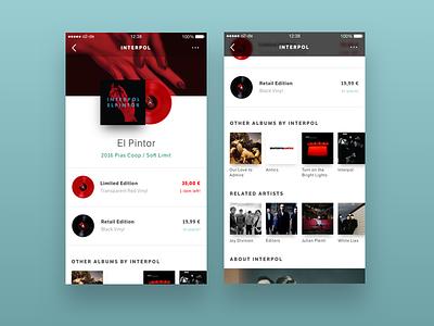 Vinyl Store App lp store vinyl ios app ux design ui