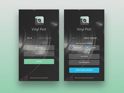 Vinyl Store App - Login & Create Account ux register login iphone ios ui app store vinyl