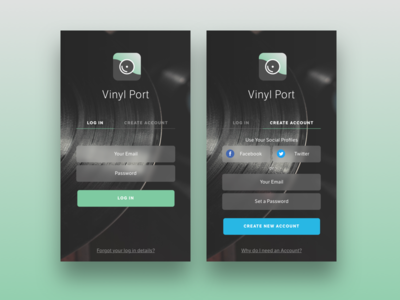 Vinyl Store App - Login & Create Account