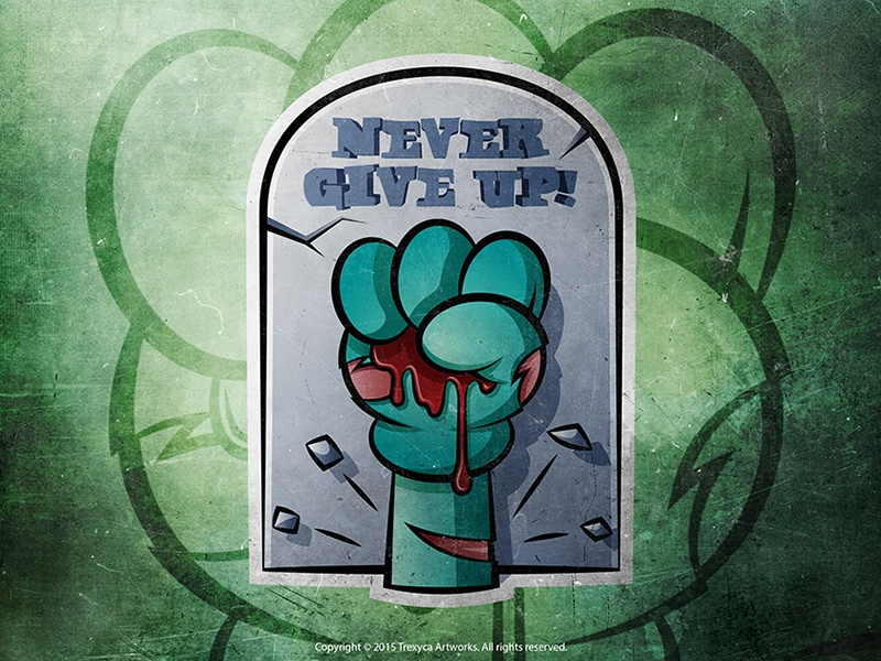 Never Give Up Sticker never give up photoshop illustrator adobe design character cartoon vector sticker