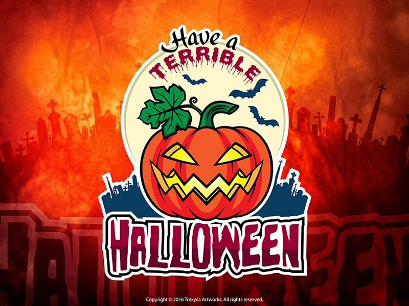 Terrible Halloween Sticker pumpkin lantern vectorworks pumpkin logo vector illustrator illustration halloween sticker mascot logo cartoon logo character design