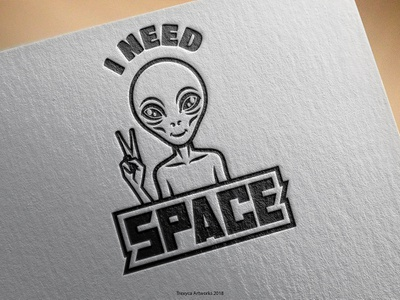 I Need Space funny illustration characterdesign design character mascotlogo mascot cartoonlogo logo cartoon space alien