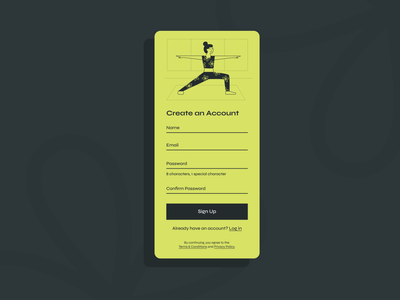 sign up page woman warrior yoga workout fitness figma illustration ui design app design dailyuichallenge sign up signup dailyui 001